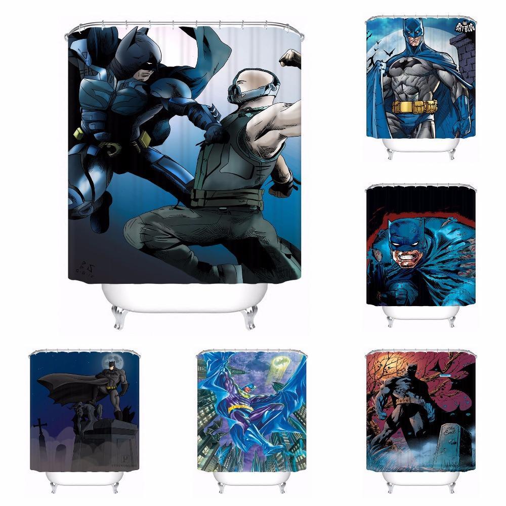 Custom Batman Superman Bathroom Acceptable Shower Curtain Polyester Fabric 180318 37 1 Curtains Cheap