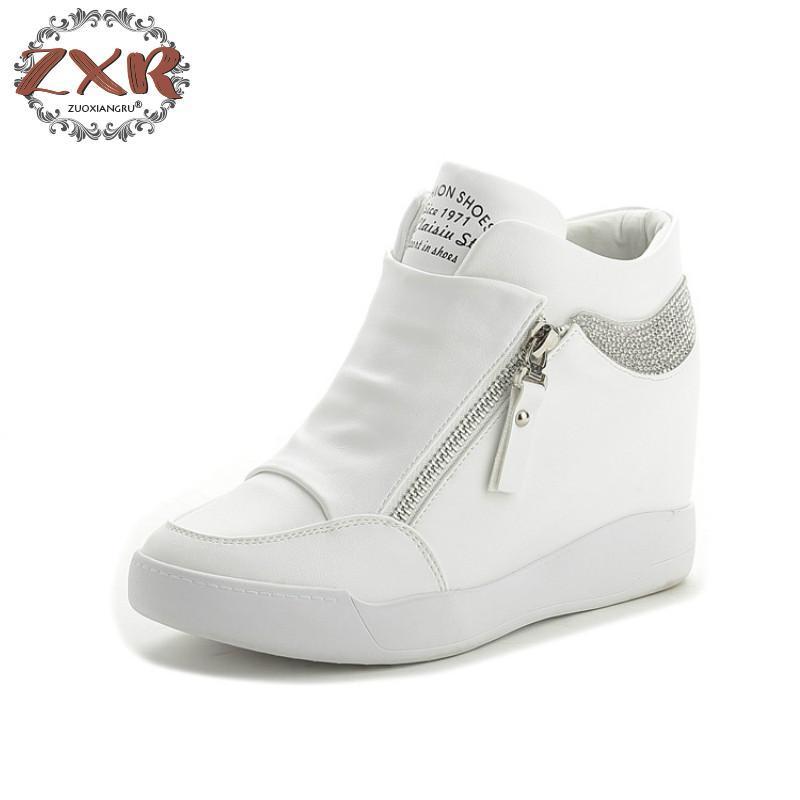 Fermeture Éclair Cheville Talons Compensées Strass Zips Cuir Haut En Formes Bottes Plates Femmes Chaussures Doubles uTKcFJl13
