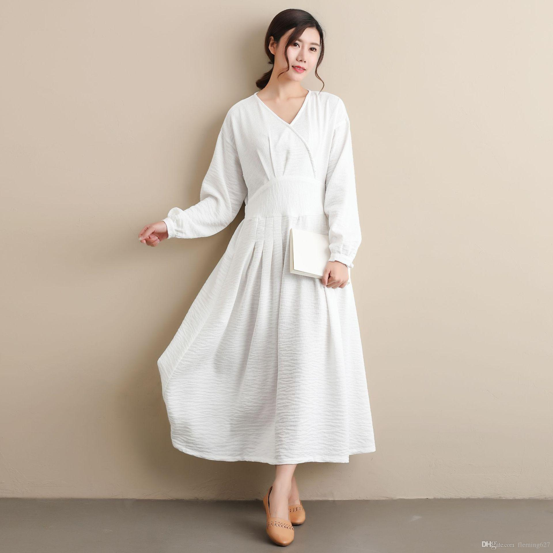 836f43e03a7 Autumn Waist Belt Folk Dress The Republic Of China Style Clothing Female  Students RETRO Art Solid Color Unique Polyester Linen Dress White Cocktail  Dress ...