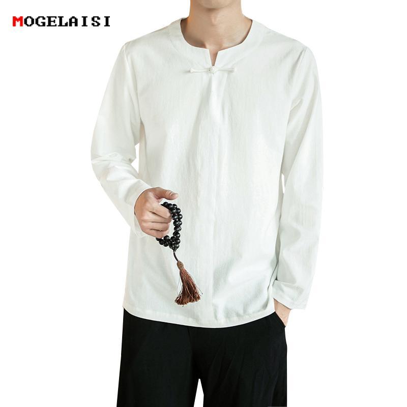 16f0c1eef8 Compre Camisas Para Hombres Camisa De Lino Sin Cuello De Lino Para Hombres  Camisa De Lino De Algodón Hombre Largo Sólidas Hebillas Delgadas Tamaño M  5XL A ...
