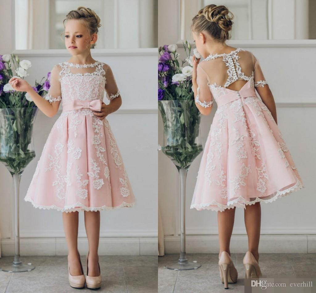 5bbfa31f16e Jane Vini Pink Lace Short Sleeve Flower Girl Dresses Knee Length Sheer  Tulle Kids Princess First Holy Communion Girls Pageant Dresses 2018 Purple  And White ...