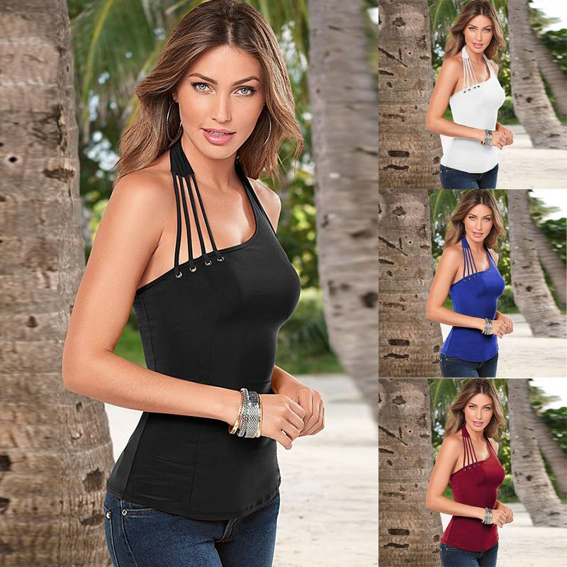 442c6b8a98 Summer 2018 Fashion Sexy Off Shoulder Women's Vest Camisole Halter  Sleeveless Bodycon Thin Backless Vest Black White Tank Tops