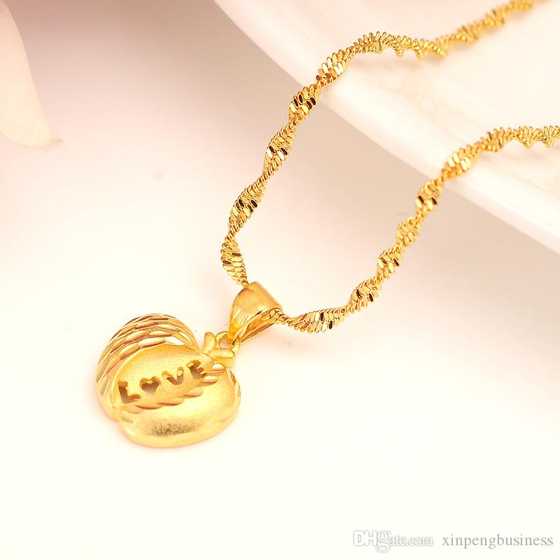 Real Dubai india 14k Yellow Solid gold Fine GF US apple Women Ethiopian fashion Pendant Necklace Jewelry party wedding Gifts safety