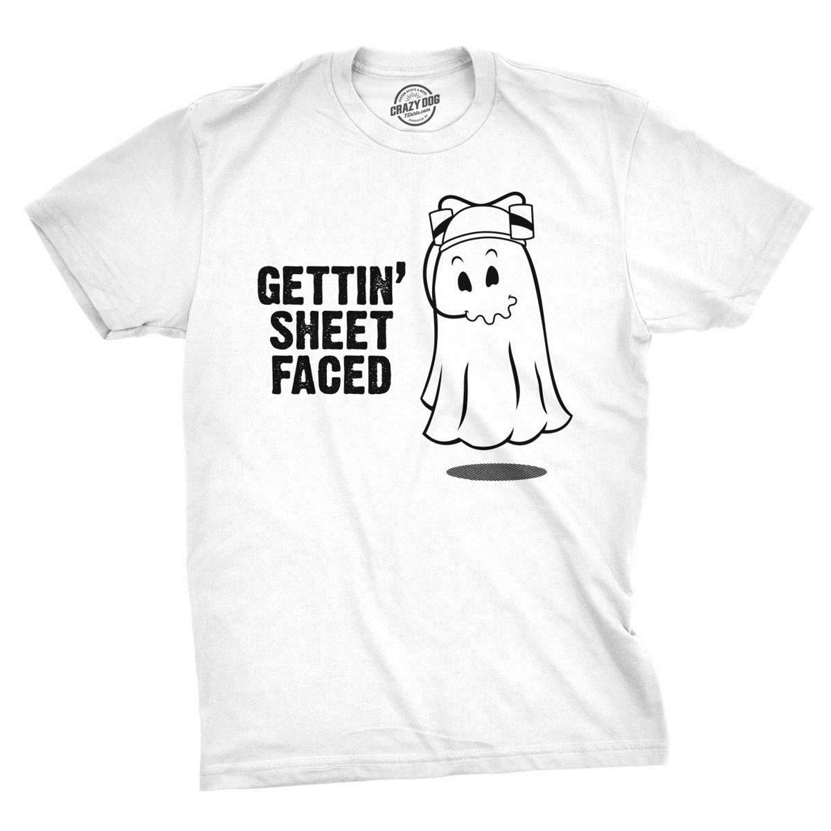 cfddcb24d Getting Sheet Faced T Shirt Funny Halloween Drinking Shirt Ghost Tee Poker T  Shirts Tshits From Zhangjingxin3, $15.53  DHgate.Com