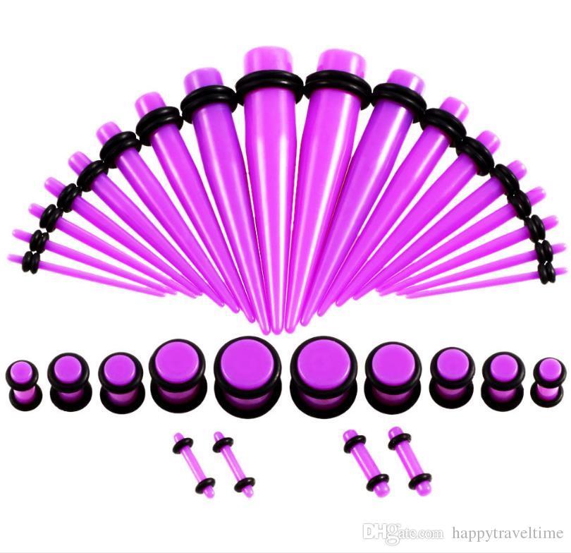 36 قطعة / المجموعة أكريليك مقاييس 14 جرام -00 جرام التناقص التدريجي والمقابس الأذن المتوسع ترصيع تمتد كيت هيئة ثقب المجوهرات الأقراط
