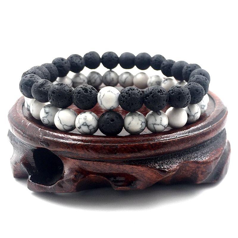 / set de 8 mm blanca de Howlite piedra y roca de lava volcánica Cuentas de piedra pulseras establecidos para joyería de regalo Hombres Mujeres estiramiento A18038