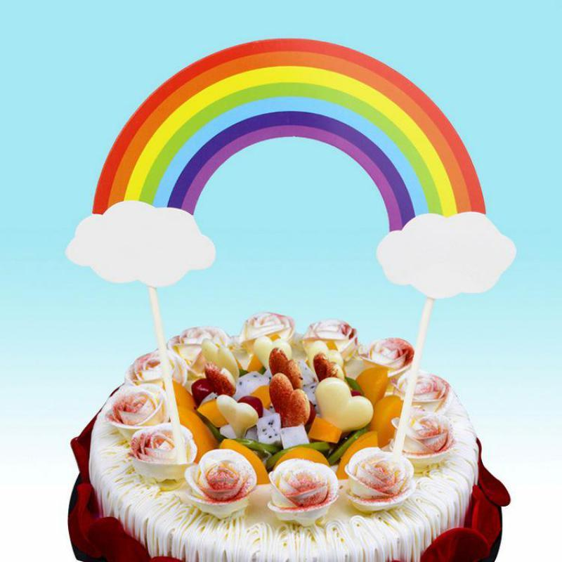 2019 Rainbow Cake Cupcake Topper Dessert Table Birthday Party Cloud