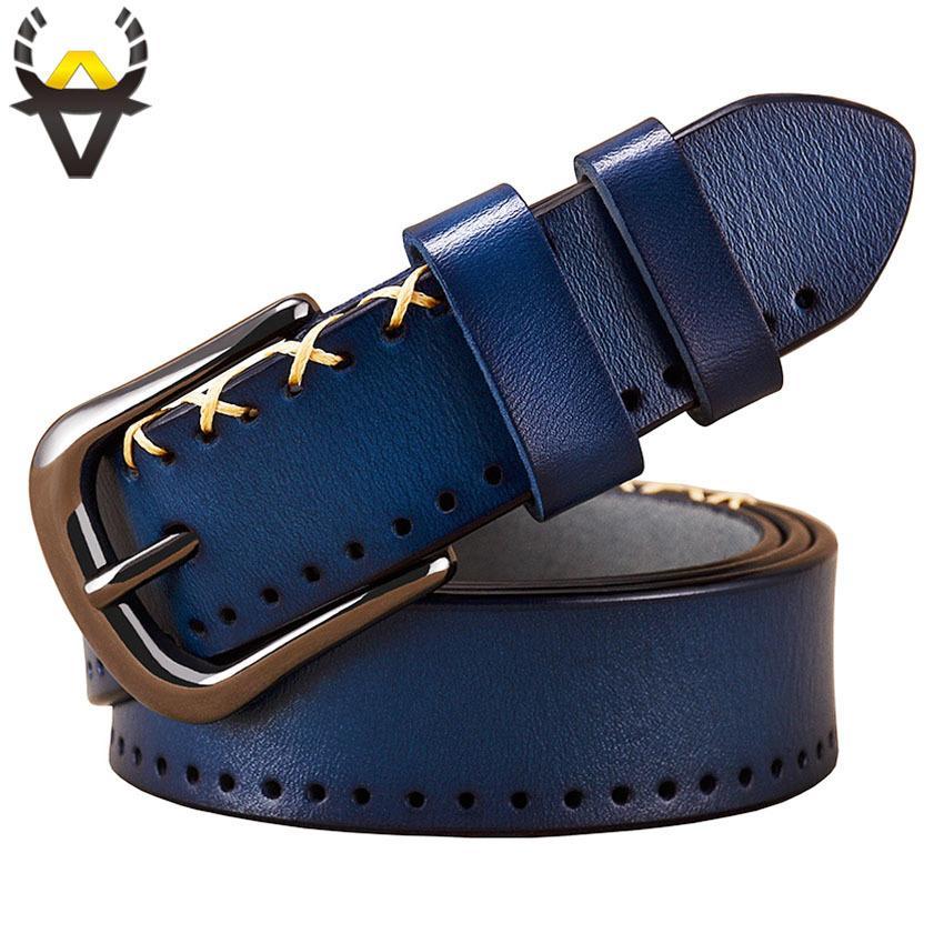 4f984a8db Compre Cintos De Couro Genuíno Para As Mulheres Designer De Moda Costura  Cinto De Mulher De Alta Qualidade Fina Pin Fivela Calça Jeans Segunda  Cowskin ...