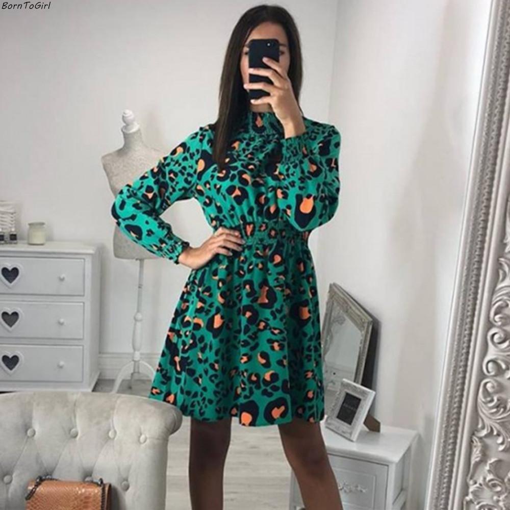 b605d9a48d7 Acheter BornToGirl Femmes Vintage Taille Haute En Mousseline De Soie Polka  Dot Léopard Robe Automne Noir Vert Rouge Robe Robe Hiver 2018 Femme De   31.76 Du ...