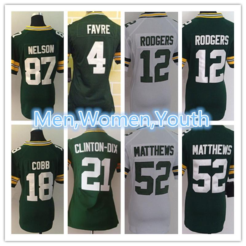 Men Women Youth Green Bay Packers Jersey 12 Aaron Rodgers 18 Randall ... f913d3147