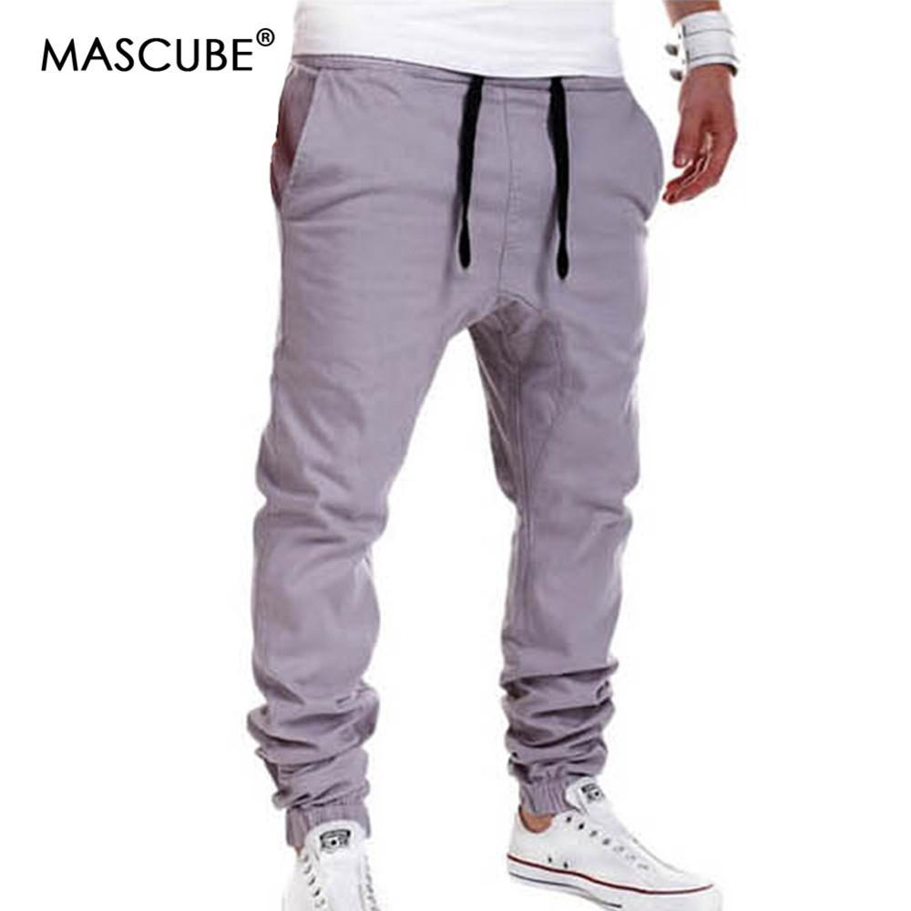 98a62b41 MASCUBE Men Pants Hip Hop Harem Joggers Fashion Solid Elastic Waist ...