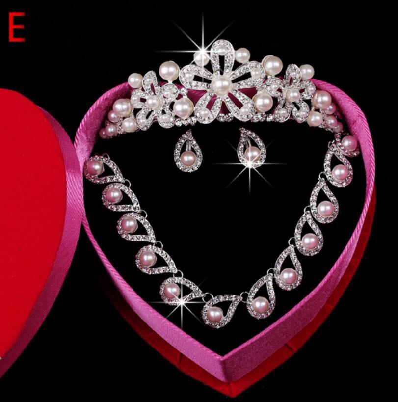 Austrian Clear Rhinestone Crystal Necklace Earrings Set Bridal Crown Tiara Wedding Jewlery 2018 pearl Crystal Jewelry