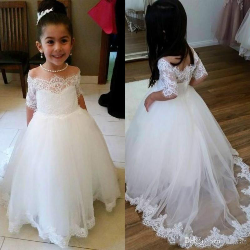 8244ea7f7e40 2019 vestido de fiesta blanco Vestidos de niña de flores para bodas  Apliques de hombros Vestido de primera comunión Vestidos de fiesta de  cumpleaños ...