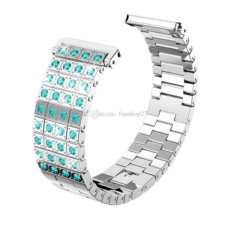 FC0226 Fitbit Versa Watch Bands Colorful Jewelry Crystal Metal Bracelet Strap Wristband Bands for Fitbit Versa Fitness Tracker