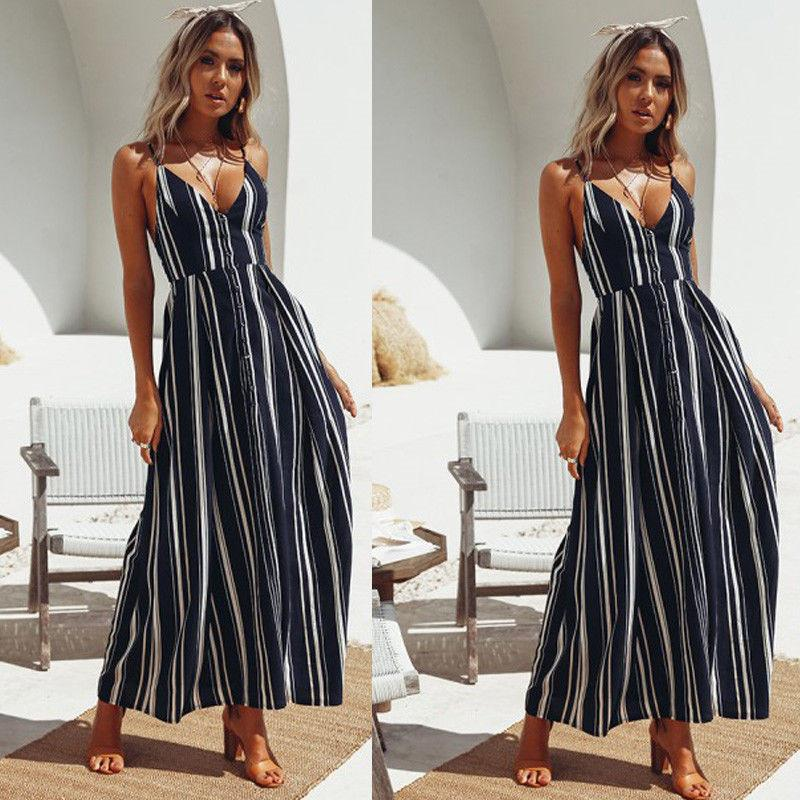 Summer Ladies Striped Chiffon Maxi Dresses one pieces Trendy Women Dress Sleeveless Ladies V-neck backless