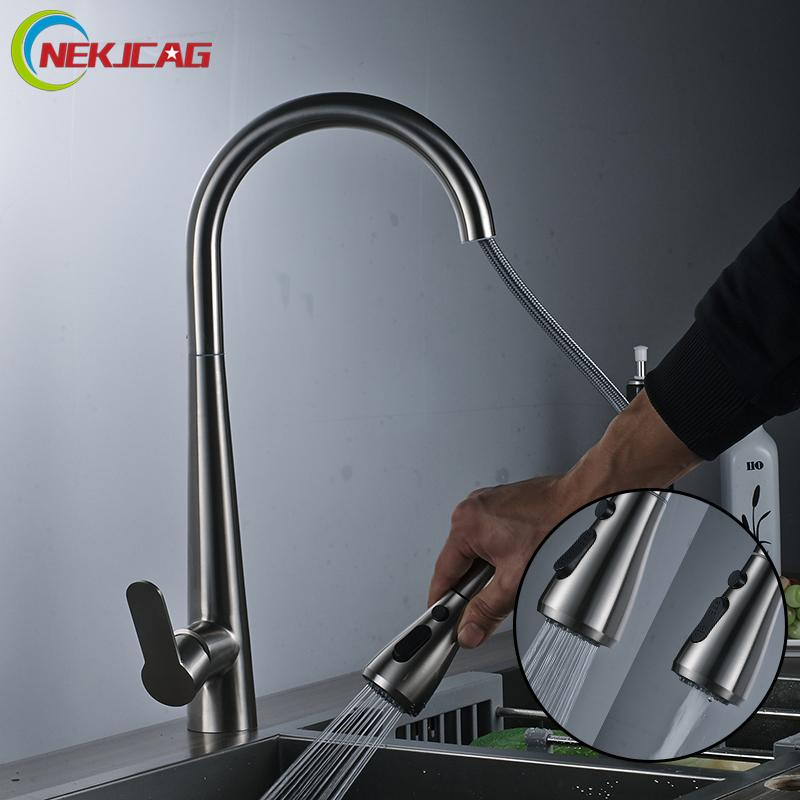 2018 Stainless Steel Kitchen Faucet Single Handle Faucet Pull Out