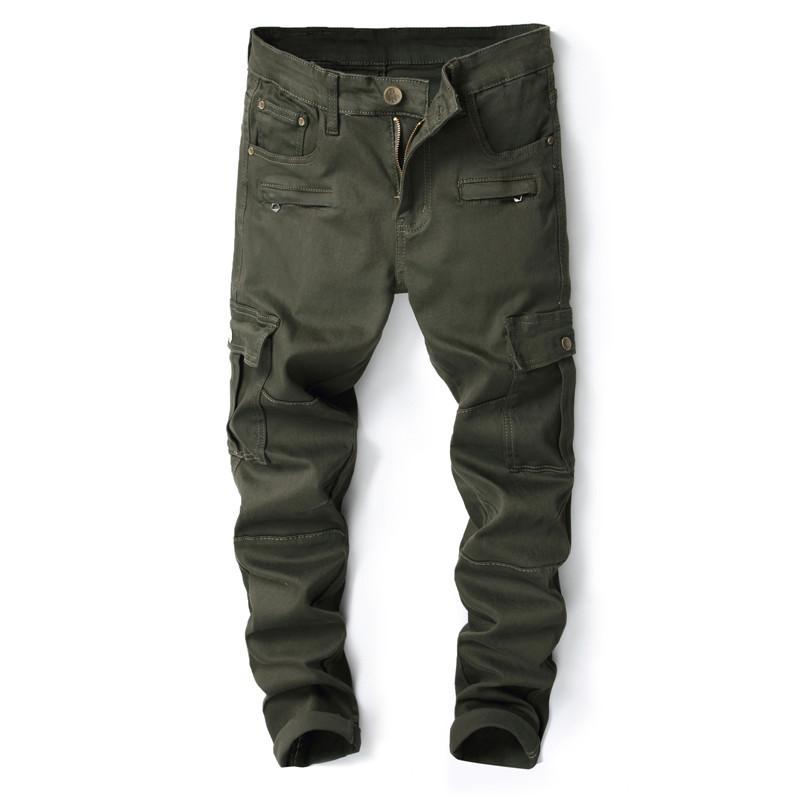 e058797444 Compre 2018 Nuevos Pantalones Vaqueros Verdes Del Ejército De Los Hombres  De La Marca Slim Fit Multi Bolsillo Pantalones De Mezclilla De Diseño Para  Los ...