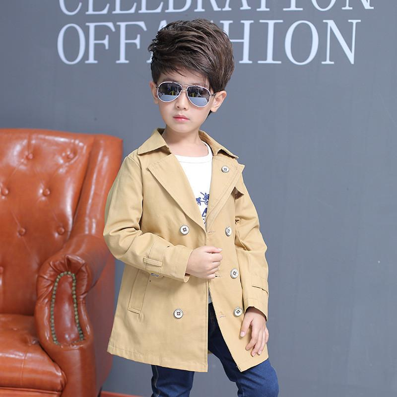 e5d635897f68 Boys Trench Coat Causal Solid Jacket For 2 8 Years Kids Children ...
