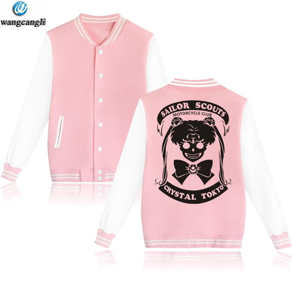 2018 kawaii Sailor Moon Imprimé Sweats À Capuche Femmes bouton baseball Veste Blouson Veste Survêtement D'hiver survêtement et Manteau Vêtements