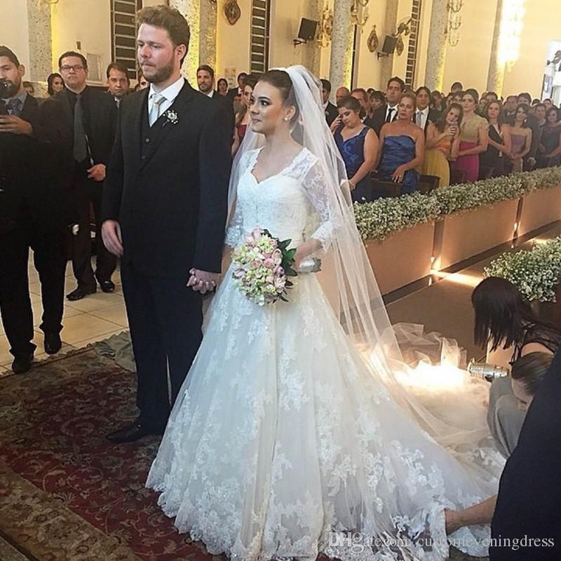 Custom Made 2018 À Manches Longues Dentelle Blanche Robes De Mariée Avec De Longues Voiles Chapelle Train De Mariage Robe Robes De Noche