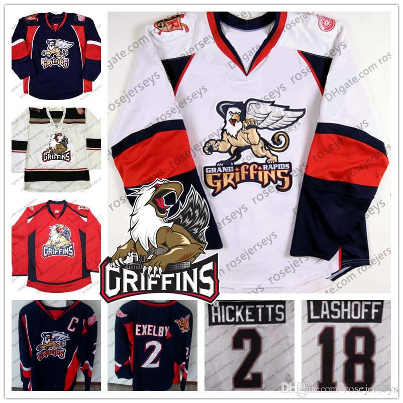 Grand Rapids Griffins #2 Joe Hicketts 10 Ben Street 18 Brian Lashoff 26  Eric Tangradi Red Navy Blue White Stitched Hockey Jerseys S-4XL