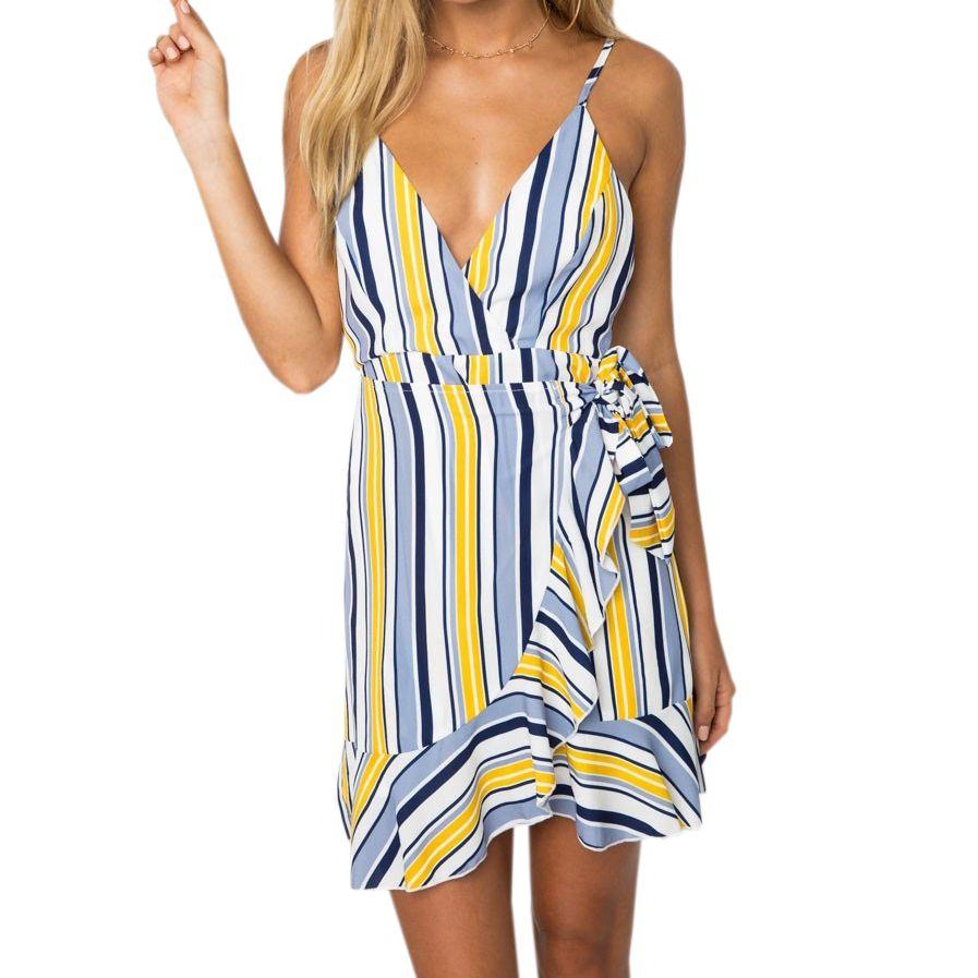 a4290ee4f Floral Printed Spaghetti Strap Backless Boho Sundress Girls Summer Kawaii  Mini Dress Femme Women Plus Size Print Dresses GV348 Strapless Dresses For  Teens ...