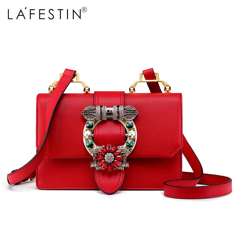 ca50f7fa89b6 LAFESTIN 2018 Women Shoulder Flap Bag Diamonds Designer Ladies Real Leather  Crossbody Bag Luxury Totes brands bolsa