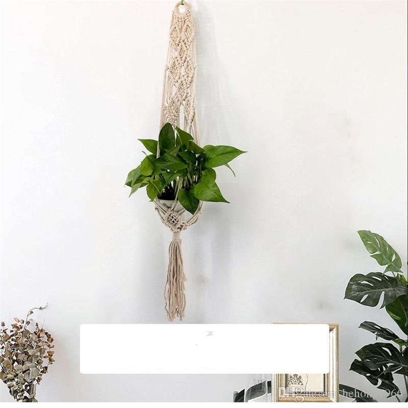 Wall Hanging Planters Simple Basket Decorate Bohemia Net Botany Flower Pots Cotton Thread Handmade Weave Tapestry Pendant Tassels 15jj V