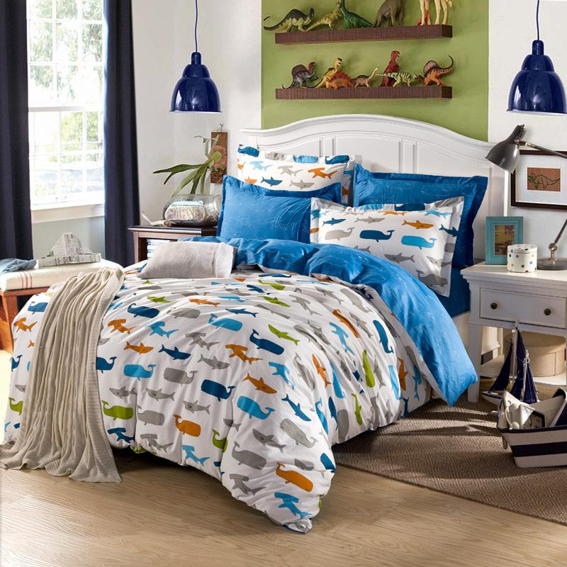 Exceptional Fish Series 3/100% Cotton Kids Bed Set Colorful Fish Print Bedding Sets  Twin Size Blue Sheets Luxury Comforter Set Bedding Sets Queen Cheap From  Yong8, ...