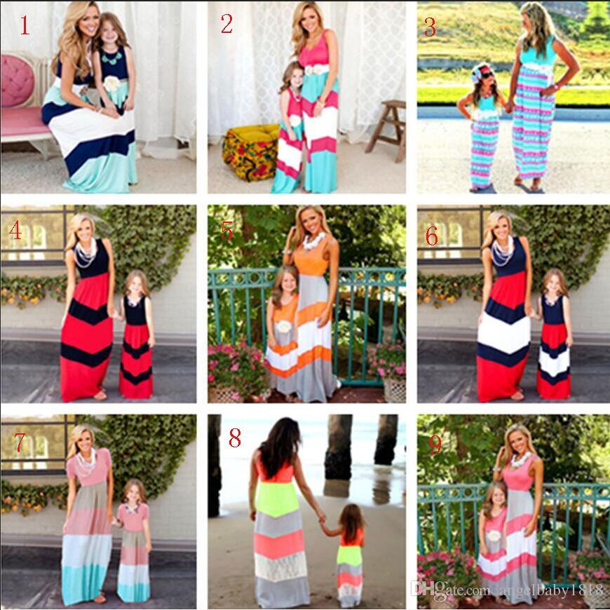52b51c987 Quality Mother And Daughter Clothes Dress Mother Daughter Matching Dresses  Girls Slim Sleeveless Long Dresses Kids Baby Girl Sundress Beach Family ...