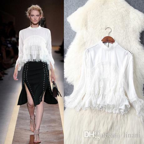 d7e3867a2b922 2019 Women OL Ruffle Puff Sleeve Shirt Waterfall Long Tassel Blouse Fashion  Show Shirt White Party Wear Tops From Linani