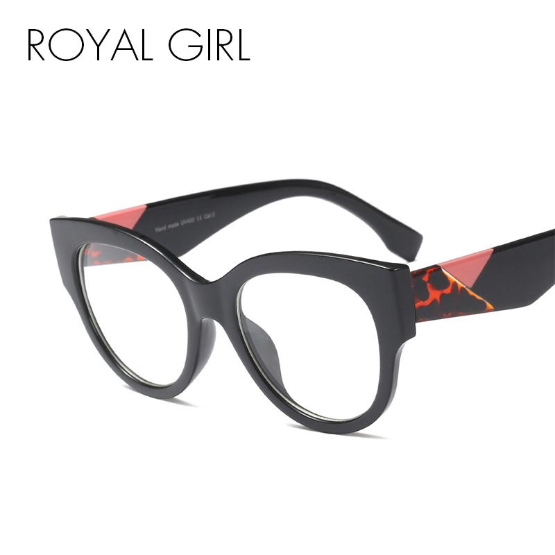 4358ea86202 2019 ROYAL GIRL Cat Eye Eyeglasses Frame Women 2018 Vintage Black Leopard  Optical Glasses For Female Oversize Eyewear Frame Os028 From  Johnnychan1988