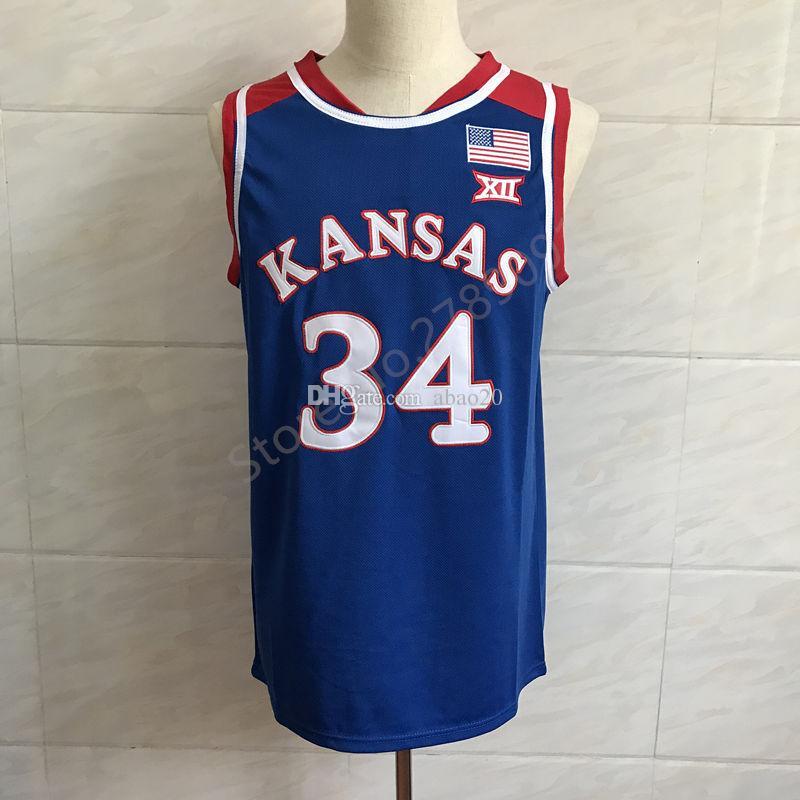 timeless design 4e5dc b27d9 #34 Paul Pierce Kansas Jayhawks KU Classic College Basketball Jersey  Embroidery Stitched Customize any number and name Jerseys