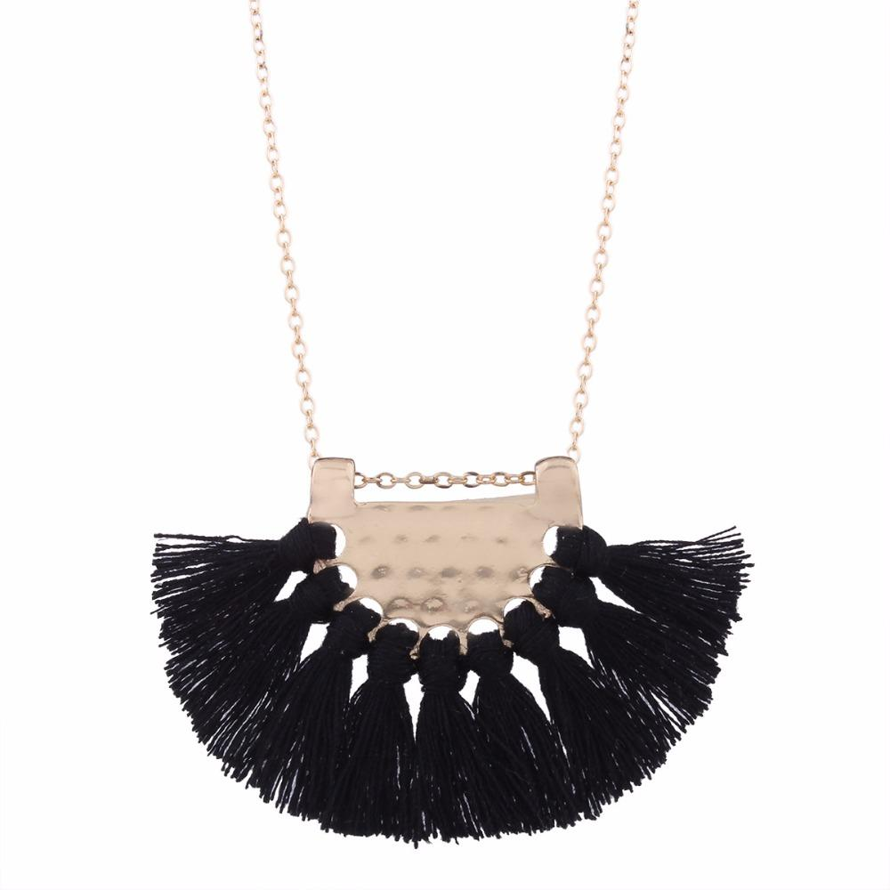 395ecf1178ab Compre Collar Largo Borla Para Mujer Declaración Moda Lindo Collar  Encantador Negro Rojo Blanco A  0.21 Del Super02