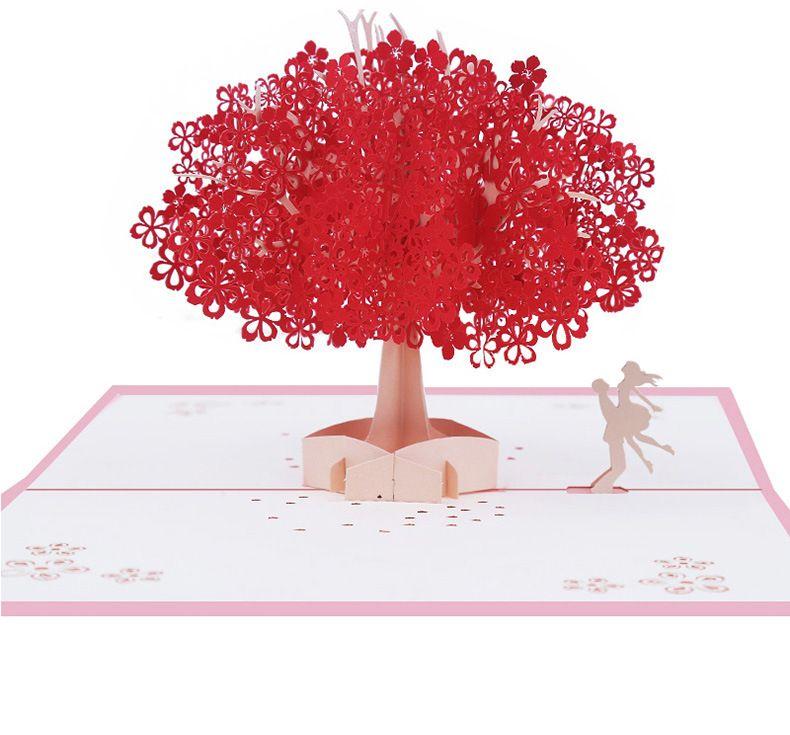 handmade sakura greeting cards elegant 3d pop up post card romantic sakura tree postcards wedding postcard invitations gift cards gga1181 printable gift - Buy Greeting Cards Online