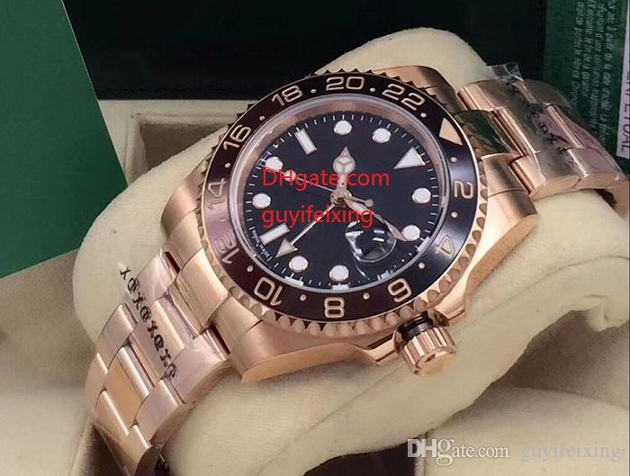 2018 Basel World Nuovo 126715CHNR 126715 GMT II Cerachrom Black - Marrone Bicolor bezel Pottery 24 ore Scala Word Men Movimento automatico Orologio