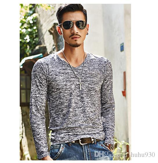 4ebcafab4b4e 2018 NEW Trendy Summer Men T Shirt Casual Long Sleeve Slim Men S Basic Tops  Tees Stretch T Shirt Mens Clothing Chemise Homme Funny Ts T Shirts Buy From  ...