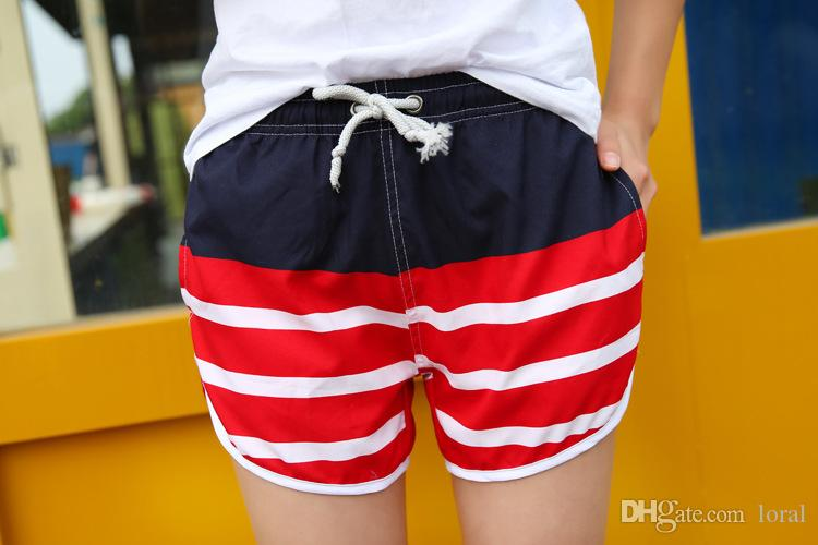 Amantes Traje de baño de verano Hombres Mujeres Tablero Pantalones cortos Rayas Playa Vacaciones Ropa casual Pantalones cortos
