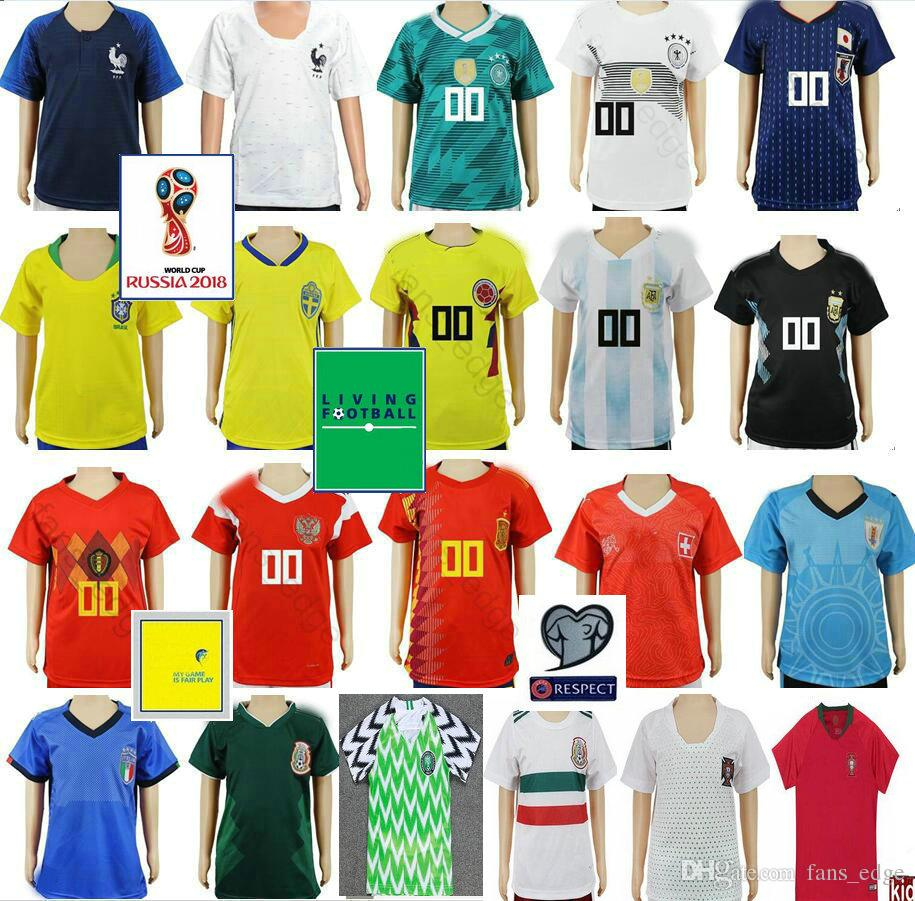 18bf84efd96 Kids Soccer Jersey Colombia Mexico Argentina Belgium Spain Japan Germany  Russia Uruguay Sweden Switzerland Custom Youth Child Football Shirt Kids  Soccer ...