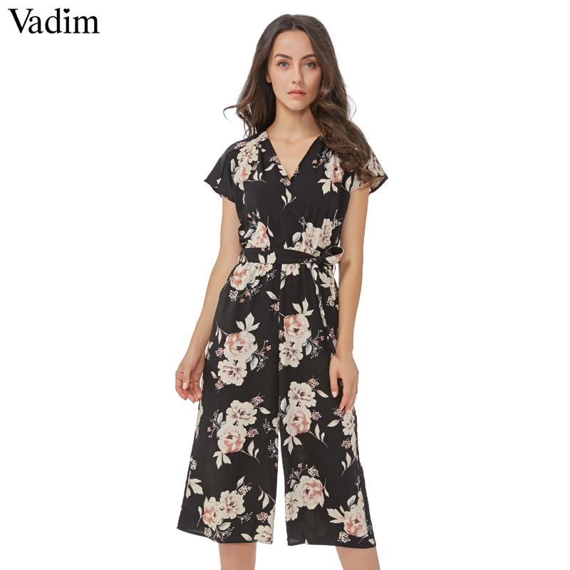 Vadim V neck vintage floral wrap jumpsuits wide leg pants bow tie sashes elastic waist rompers short sleeve casual playsuits