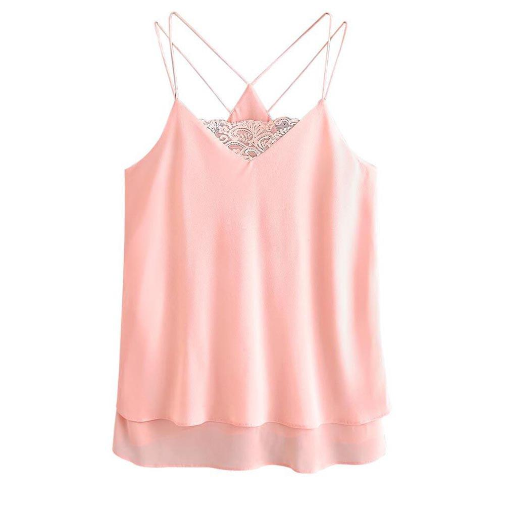 acd5b826b0c2b 2019 Women Cami Sweet Pink Spliced Lace Tank Tops Summer Loose Backless V  Neck Vest Sexy Tops Femininas  VE From Bibei10