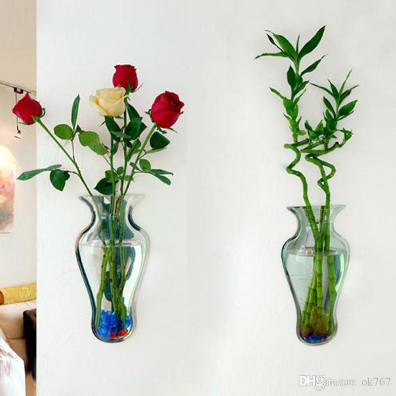 Yeni Vazo Duvar Dekorasyon Akvaryum Akvaryum Ayna Akrilik Ev Dekorasyon Aksesuarları DIY Vazolar Çiçek Duvara monte Bitkiler