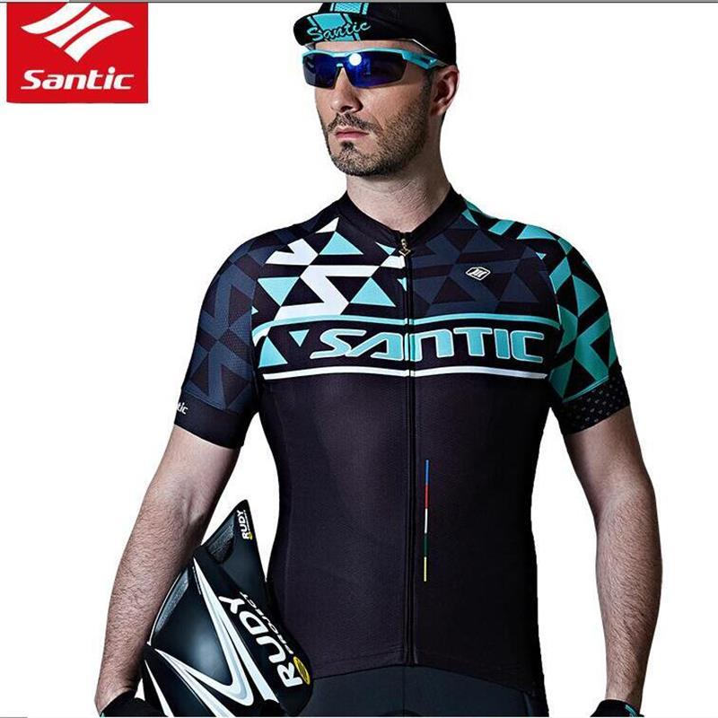 5fc0f7378 Santic 2018 Men Cycling Jersey Top Short Sleeve Pro MTB Road Bicycle  Clothing Antislip Sleeve Cuff Quick Dry Bicycle Jersey Shirt Women T Shirts  Long Sleeve ...