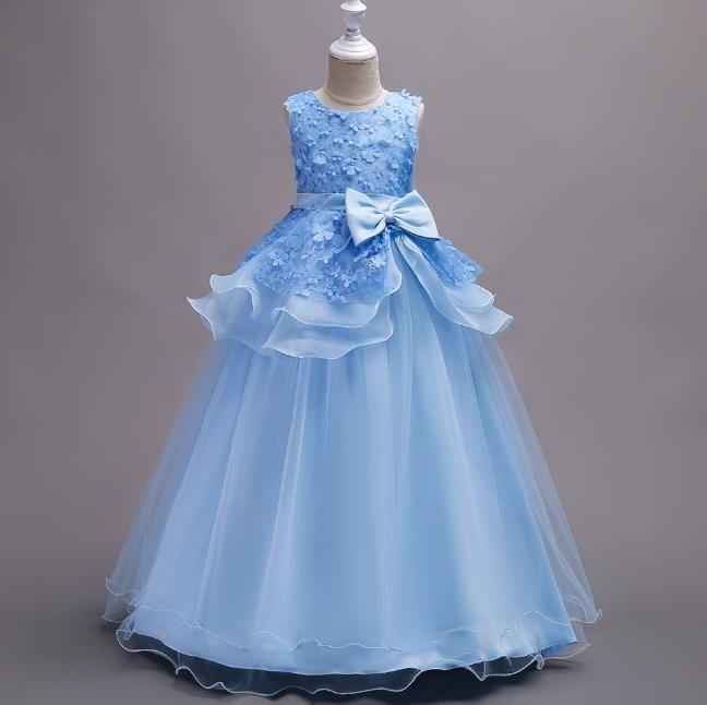efe0832153d6 Flower Girl Long Dresses 3D Flowers Christmas Party Wear Kids ...