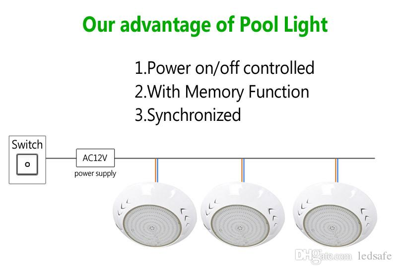 Resin Fully LED Swimming Pool Lights Lamp AC 12V RGB Cool white Light Color IP68 Waterproof Outdoor Underwater Lighting Fixture 18W 42W