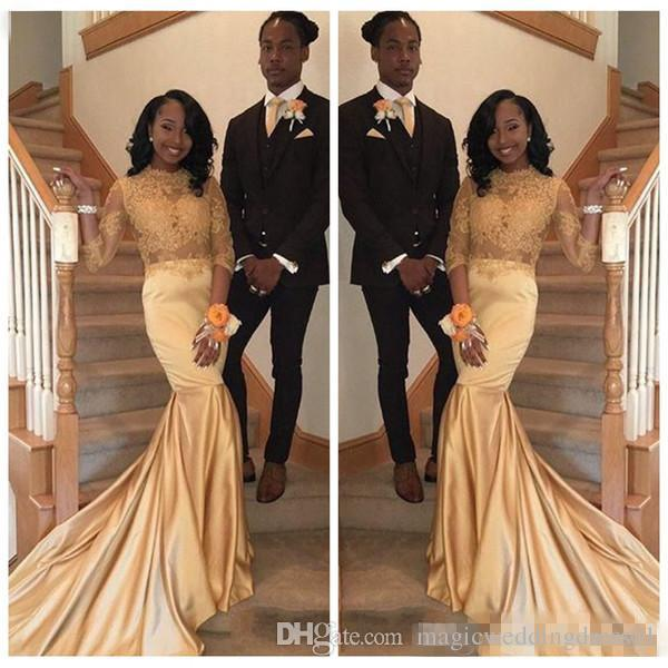 beded3eb1b8 2018 African 2K18 Gold Lace Prom Dresses For Black Girls Long Sleeves Satin  Plus Size Evening Prom Gowns Vestidos Faviana Prom Dresses Floor Length Prom  ...