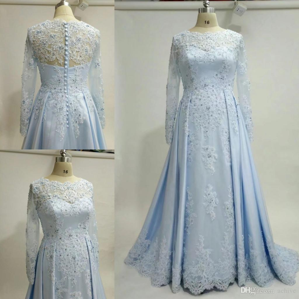 Real Designer Long Sleeves Prom Dresses 2018 Beaded Applique Lace ...