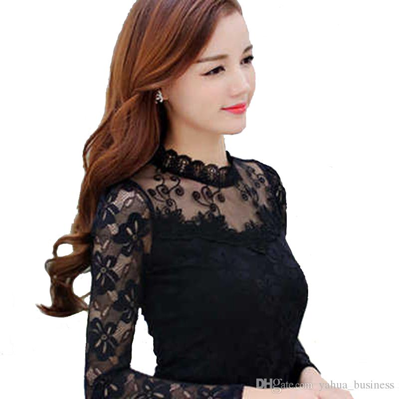 b50a18018e325 2019 Sexy Chiffon Lace Blouse Shirt Women Blouses Shirts Elegant Black  White Crochet Long Sleeve Blouse Shirt Ladies Office Tops From  Yahua business