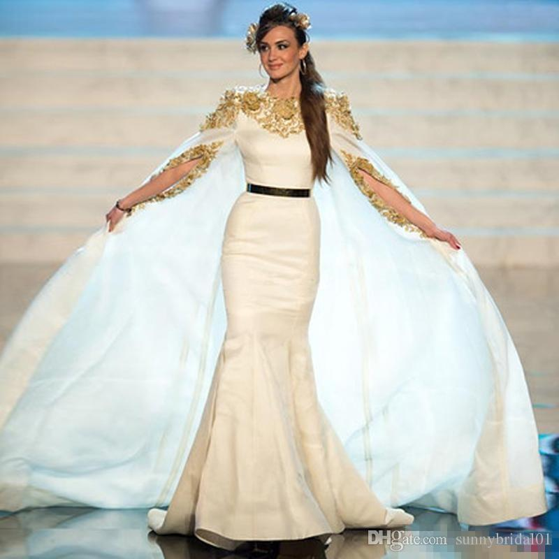 Miss USA 2018 Pageant Evening Gowns with Cloak Gold Applique Satin Mermaid Sash Krikor Jabotian Formal Occasion Dresses Prom Gowns Arabic