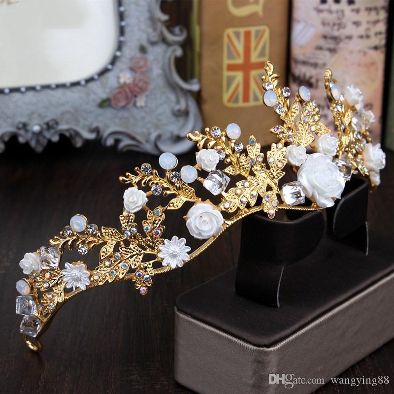 مجموعات مجوهرات الزفاف الفاخرة مثقوب أقراط حجر الراين المعلقات قلادة حار بيع أغطية الرأس الأميرة CrownTara 2018 جديد
